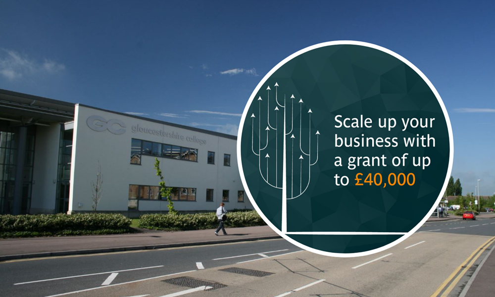 Tewkesbury and Cheltenham lead the way as SMEs flood in to claim grants of up to £40,000 through Scale Up 4 Growth - Image showing outside Gloucestershire's Cheltenham campus with Scale Up 4 Growth logo in circle.